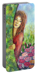 Portable Battery Charger featuring the painting Magic Garden 021108 by Selena Boron