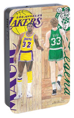 Magic Johnson And Larry Bird Portable Battery Charger by Chris Brown
