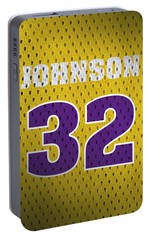 Magic Johnson Los Angeles Lakers Number 32 Retro Vintage Jersey Closeup Graphic Design Portable Battery Charger by Design Turnpike