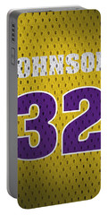 Magic Johnson Los Angeles Lakers Number 32 Retro Vintage Jersey Closeup Graphic Design Portable Battery Charger