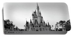 Magic Kingdom Castle In Black And White Mp Portable Battery Charger