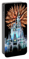 Magic Kingdom Castle In Frosty Light Blue With Fireworks 02 Mp Portable Battery Charger