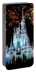 Magic Kingdom Castle In Frosty Light Blue With Fireworks 03 Mp Portable Battery Charger