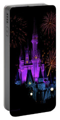 Magic Kingdom Castle In Purple With Fireworks 02 Pm Portable Battery Charger