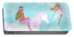 Portable Battery Charger featuring the painting Magical Play Day by Leslie Allen