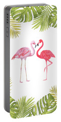 Portable Battery Charger featuring the painting Magical Tropicana Love Flamingos And Leaves by Georgeta Blanaru