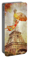 Portable Battery Charger featuring the digital art Magically Paris by Christina Lihani