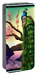 Magnificent Peacock On Plum Tree In Blossom Portable Battery Charger