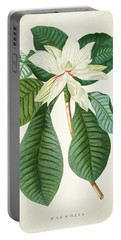 Magnolia Botanical Print Magnolia02 Portable Battery Charger