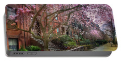 Portable Battery Charger featuring the photograph Magnolia Trees In Spring - Back Bay Boston by Joann Vitali