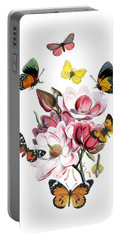 Magnolia With Butterflies Portable Battery Charger