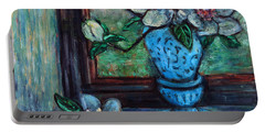 Portable Battery Charger featuring the painting Magnolias In A Blue Vase By The Window by Xueling Zou