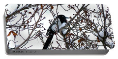 Portable Battery Charger featuring the photograph Magpie In A Snowstorm by Will Borden