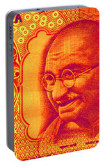 Portable Battery Charger featuring the digital art Mahatma Gandhi 500 Rupees Banknote by Jean luc Comperat
