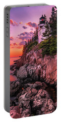 Portable Battery Charger featuring the photograph Maine Bass Harbor Lighthouse Sunset by Ranjay Mitra