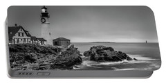 Portable Battery Charger featuring the photograph Maine Cape Elizabeth Lighthouse Aka Portland Headlight In Bw by Ranjay Mitra