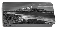Portable Battery Charger featuring the photograph Maine Cape Neddick Lighthouse In Bw by Ranjay Mitra