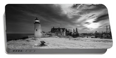Maine Coastal Storm Over Pemaquid Lighthouse Portable Battery Charger