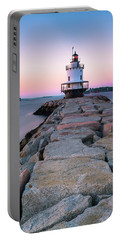 Maine Coastal Sunset Over The Spring Breakwater Lighthouse Portable Battery Charger