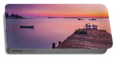 Maine Cooks Corner Lobster Shack At Sunset Portable Battery Charger