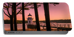 Maine Doubling Point Lighthouse At Sunset Panorama Portable Battery Charger