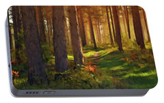 Portable Battery Charger featuring the photograph Maine Forest Sunset by David Dehner