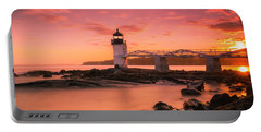 Maine Lighthouse Marshall Point At Sunset Portable Battery Charger
