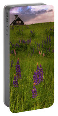Maine Lupines And Home After Rain And Storm Portable Battery Charger