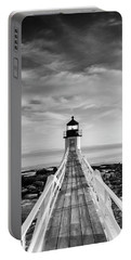 Maine Marshall Point Lighthouse Vertical Panorama In Black And White Portable Battery Charger