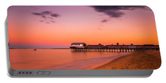 Maine Old Orchard Beach Pier At Sunset Portable Battery Charger