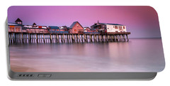 Portable Battery Charger featuring the photograph Maine Old Orchard Beach Pier Sunset  by Ranjay Mitra