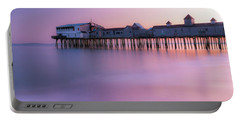 Maine Oob Pier At Sunset Panorama Portable Battery Charger by Ranjay Mitra