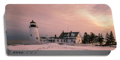 Maine Pemaquid Lighthouse After Winter Snow Storm Portable Battery Charger