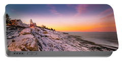 Maine Pemaquid Lighthouse In Winter Snow Portable Battery Charger