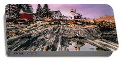 Maine Pemaquid Lighthouse Reflection In Summer Portable Battery Charger