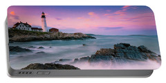Maine Portland Headlight Lighthouse At Sunset Panorama Portable Battery Charger by Ranjay Mitra
