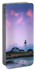 Maine Portland Headlight Lighthouse In Blue Hour Portable Battery Charger