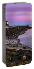 Maine Prospect Harbor Lighthouse Sunset In Winter Portable Battery Charger