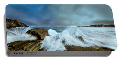 Maine Rocky Coast During Storm At Two Lights Portable Battery Charger by Ranjay Mitra