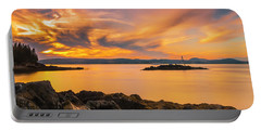 Maine Rocky Coastal Sunset In Penobscot Bay Panorama Portable Battery Charger