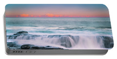 Maine Rocky Coastal Sunset Panorama Portable Battery Charger
