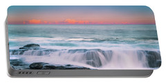 Maine Rocky Coastal Sunset Panorama Portable Battery Charger by Ranjay Mitra
