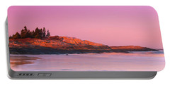Maine Sheepscot River Bay With Cuckolds Lighthouse Sunset Panorama Portable Battery Charger by Ranjay Mitra