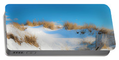 Maine Snow Dunes On Coast In Winter Panorama Portable Battery Charger