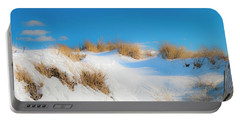 Maine Snow Dunes On Coast In Winter Panorama Portable Battery Charger by Ranjay Mitra