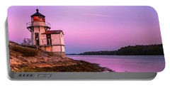 Maine Squirrel Point Lighthouse On Kennebec River Sunset Panorama Portable Battery Charger