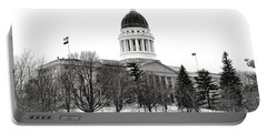Maine State Capitol In Winter Portable Battery Charger