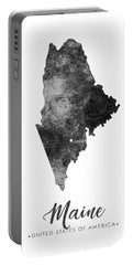 Maine State Map Art - Grunge Silhouette Portable Battery Charger