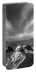 Maine Storm Clouds And Crashing Waves On Rocky Coast Portable Battery Charger