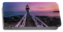 Maine Sunset At Marshall Point Lighthouse Portable Battery Charger
